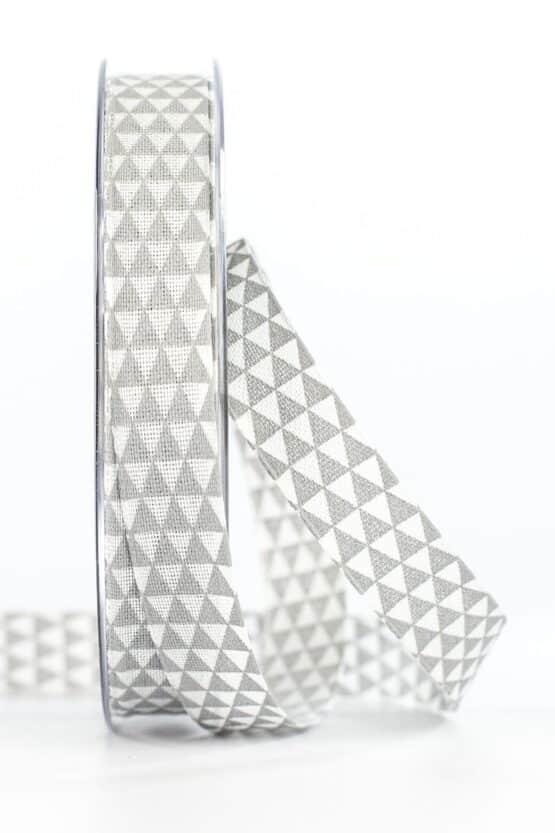 Schmales Geschenkband mit Dreiecken, grau, 15 mm breit - geschenkband, geschenkband-gemustert