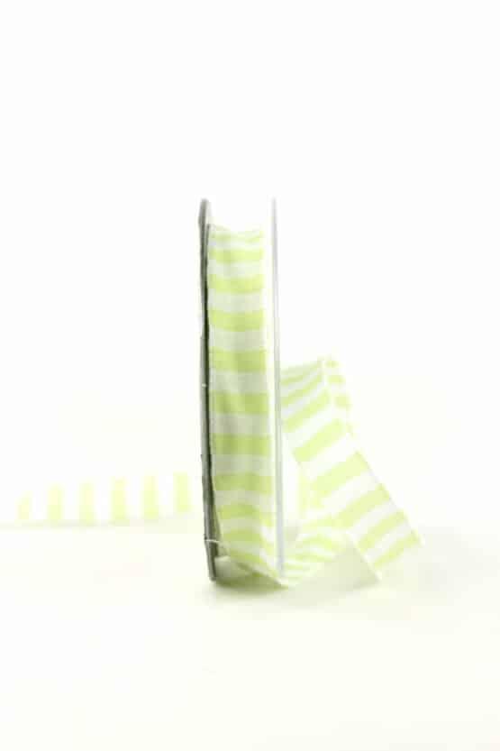 Geschenkband hellgrün-weiß gestreift, 15 mm breit - geschenkband, geschenkband-gemustert, dekoband