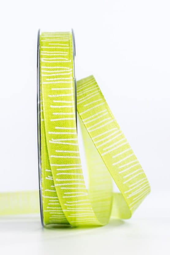 Leinenstrukturband mit Streifen, hellgrün, 15 mm breit - geschenkband, geschenkband-gemustert