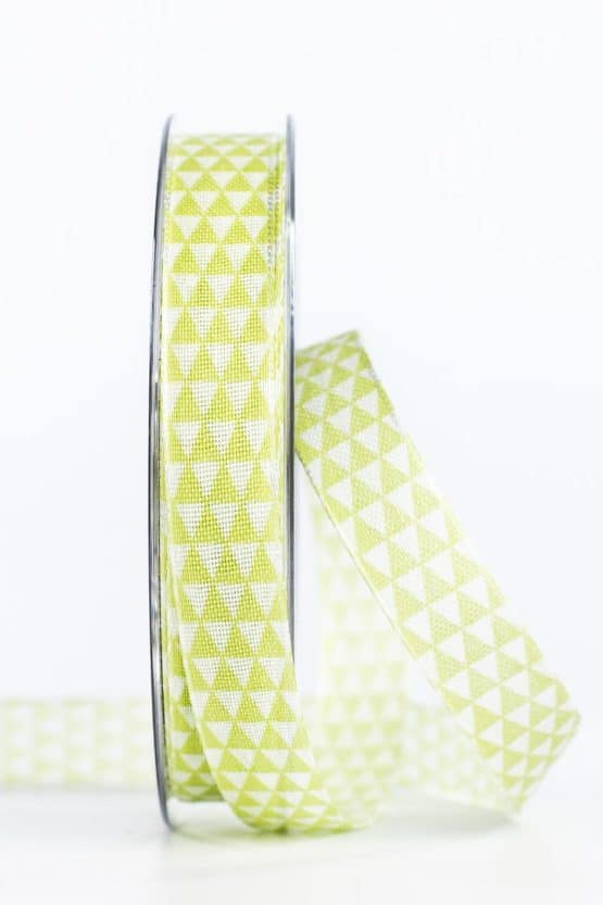 Schmales Geschenkband mit Dreiecken, grün, 15 mm breit - geschenkband, geschenkband-gemustert