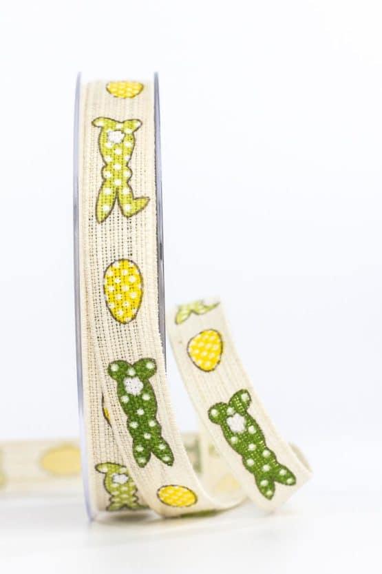 Leinenband Osterhase, grün-gelb, 15 mm breit - ostern, geschenkband, geschenkband-gemustert, geschenkband-fuer-anlaesse, anlasse