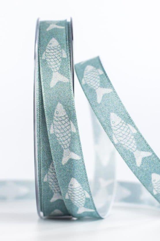 Maritimes Dekoband mit Fischen, türkis, 15 mm breit - geschenkband, geschenkband-gemustert