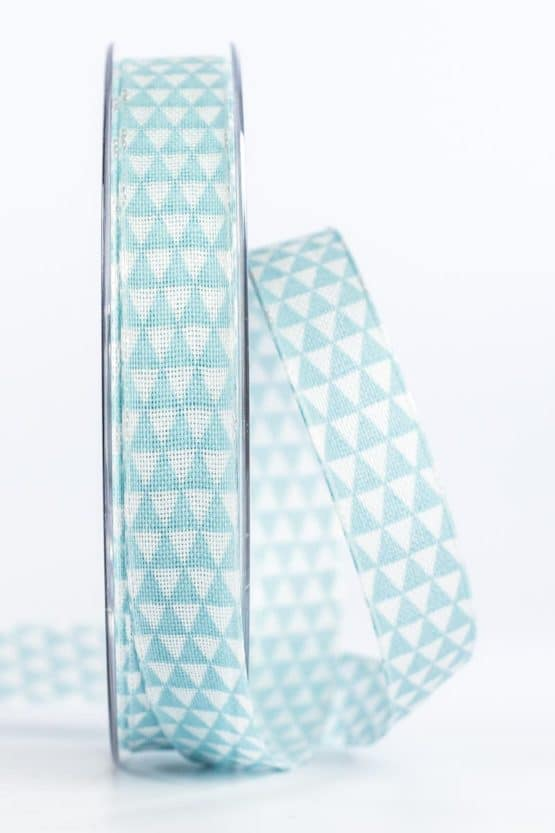 Schmales Geschenkband mit Dreiecken, türkis, 15 mm breit - geschenkband, geschenkband-gemustert