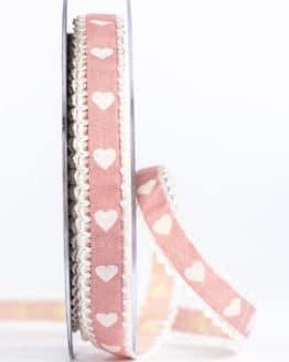 Geschenkband mit Herzen, rosa, 15 mm breit - geschenkband, geschenkband-mit-herzen