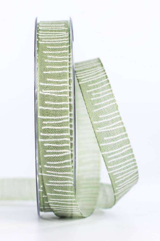 Leinenstrukturband mit Streifen, olivgrün, 15 mm breit - geschenkband, geschenkband-gemustert