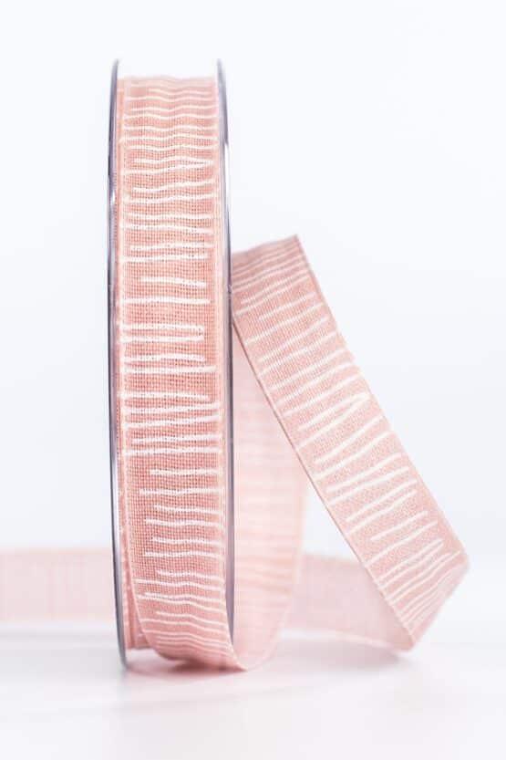 Leinenstrukturband mit Streifen, rosa, 15 mm breit - geschenkband, geschenkband-gemustert