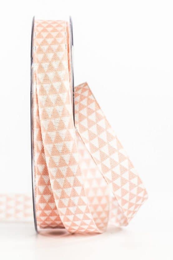 Schmales Geschenkband mit Dreiecken, rosa, 15 mm breit - geschenkband, geschenkband-gemustert