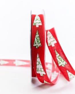 Moderne Weihnachtsbäume, rot, 15 mm breit - weihnachtsbaender, geschenkband-weihnachten-gemustert, geschenkband-weihnachten