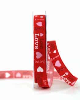 """Leinenband """"Love"""", rot, 15 mm breit - valentinstag, hochzeit, muttertag, geschenkband, geschenkband-fuer-anlaesse, anlasse"""