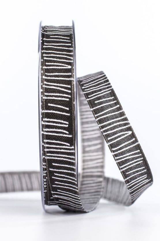 Leinenstrukturband mit Streifen, schwarz, 15 mm breit - geschenkband, geschenkband-gemustert