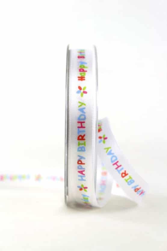 """Satinband """"Happy Birthday"""", 15 mm breit - gluck, geschenkband, geschenkband-fuer-anlaesse, anlasse"""