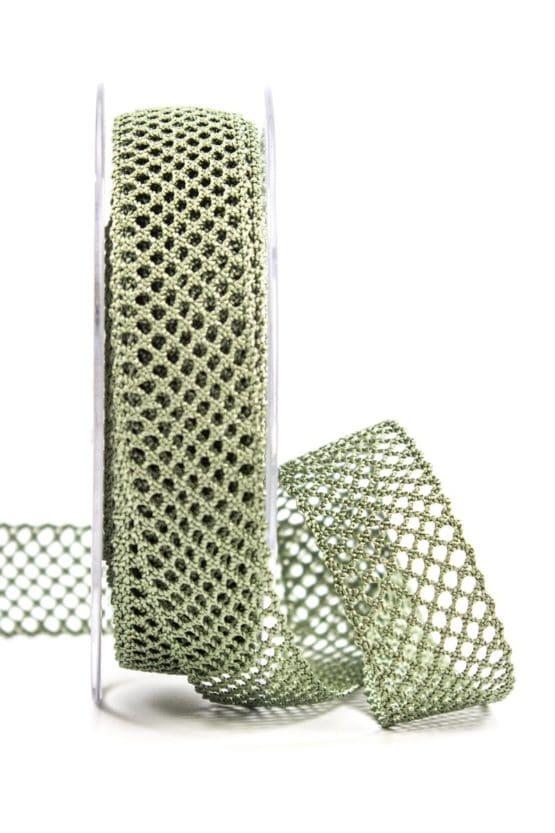 Lochband, olivgrün, 20 mm breit - spitzenbaender