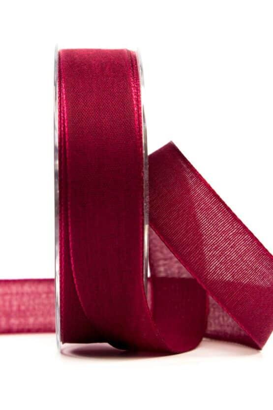 Geschenkband Leinen, dunkelrot, 25 mm breit - geschenkband, geschenkband-einfarbig