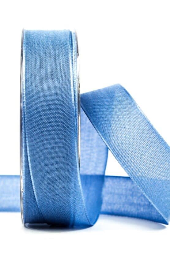 Geschenkband Leinen, jeansblau, 25 mm breit - geschenkband, geschenkband-einfarbig
