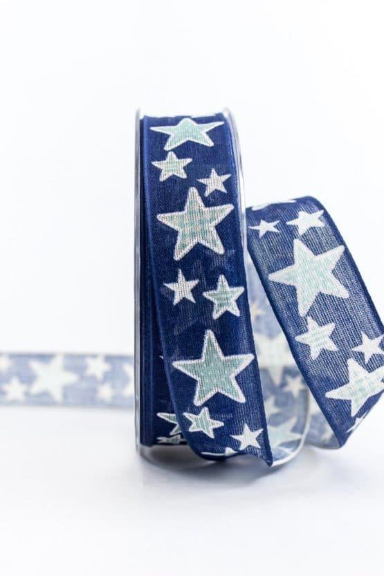 Geschenkband mit Sternen, blau, 25 mm breit - weihnachtsbaender, geschenkband-weihnachten-gemustert, geschenkband-weihnachten