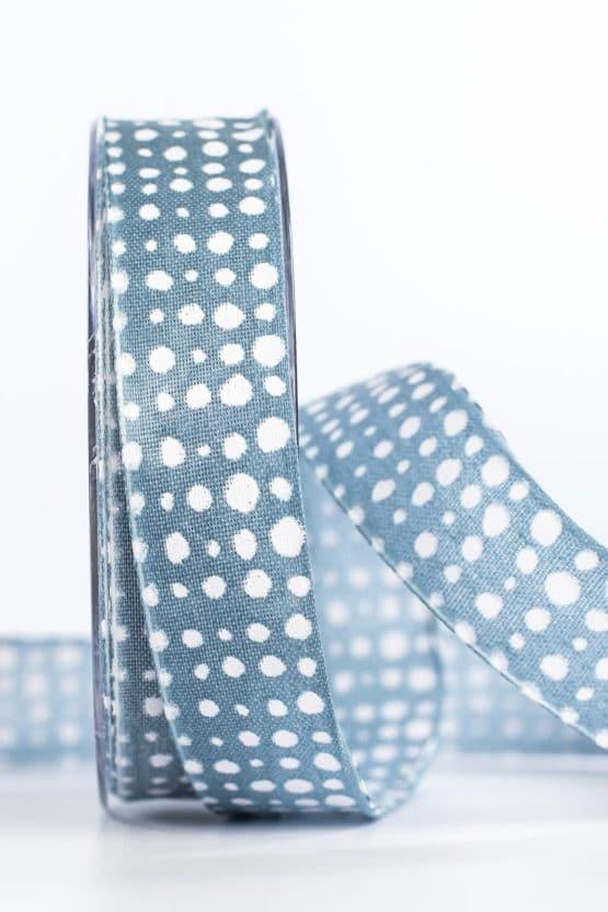 Geschenkband in Leinenoptik, jeansblau, 25 mm breit - geschenkband, geschenkband-gemustert