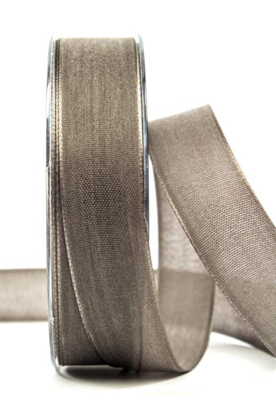 Geschenkband Leinen, taupe, 25 mm breit - geschenkband, geschenkband-einfarbig