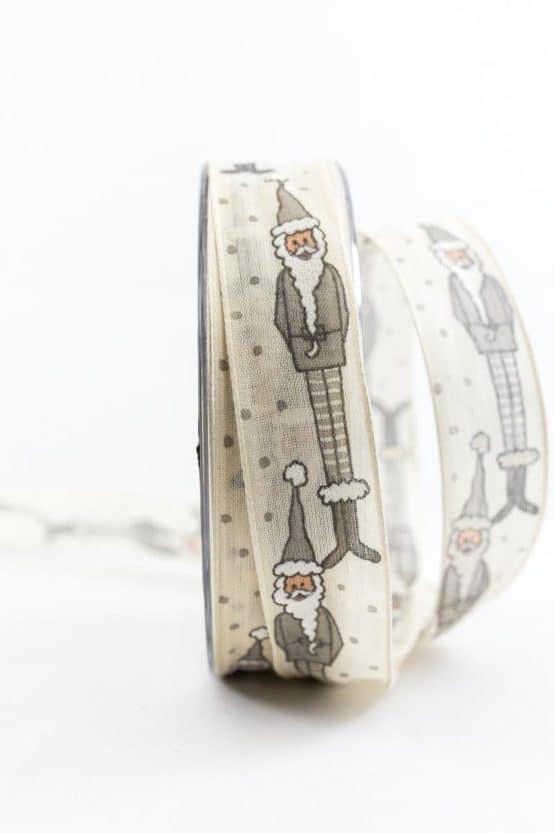 Weihnachtsmann-Geschenkband, crème, 25 mm breit - weihnachtsbaender, geschenkband-weihnachten-gemustert, geschenkband-weihnachten