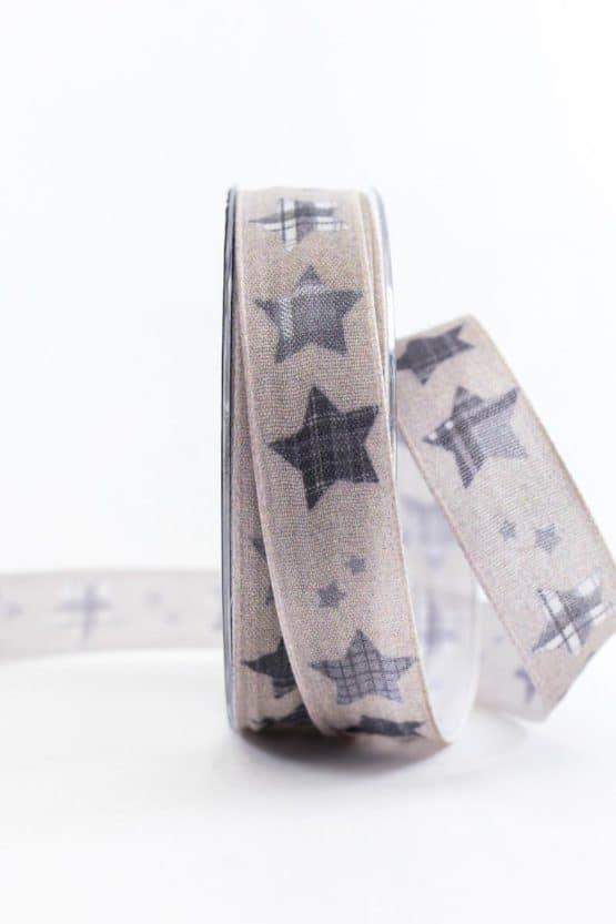 Leinenband mit Sternen, braun, 25 mm breit - weihnachtsbaender, geschenkband-weihnachten-gemustert, geschenkband-weihnachten