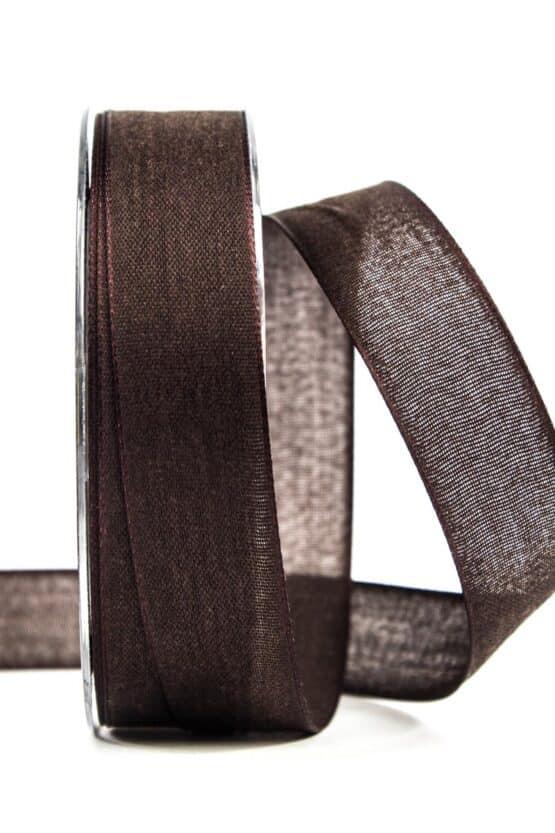 Geschenkband Leinen, schokobraun, 25 mm breit - geschenkband, geschenkband-einfarbig