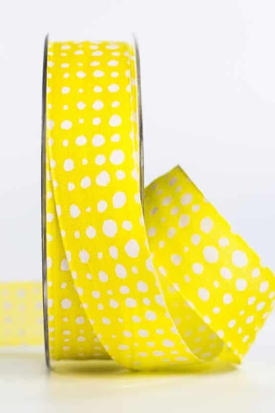 Geschenkband in Leinenoptik, gelb, 25 mm breit - geschenkband, geschenkband-gemustert