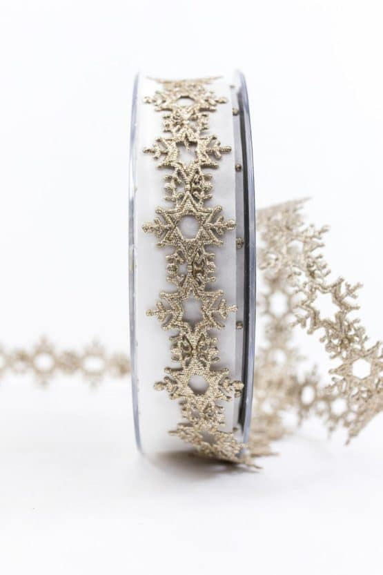 Eiskristall-Litze, gold, 25 mm breit - weihnachtsbaender, geschenkband-weihnachten-einfarbig, geschenkband-weihnachten