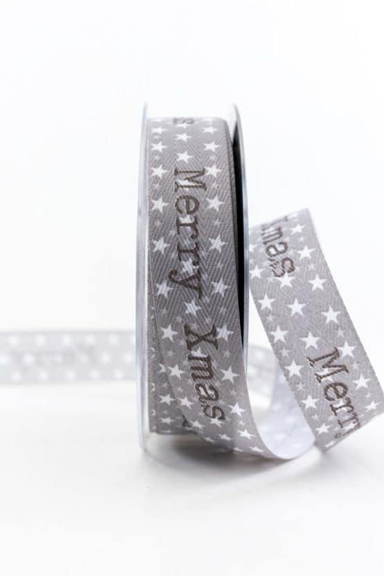 Merry Xmas Geschenkband, grau, 25 mm breit - weihnachtsbaender, geschenkband-weihnachten-gemustert, geschenkband-weihnachten