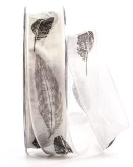 Organzaband mit Federn, grau, 25 mm breit - organzaband, organzaband-gemustert