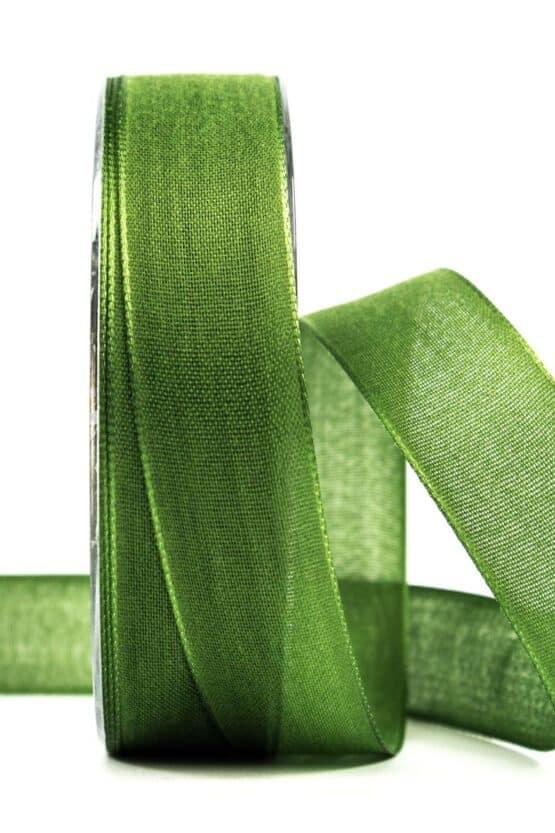 Geschenkband Leinen, moosgrün, 25 mm breit - geschenkband, geschenkband-einfarbig