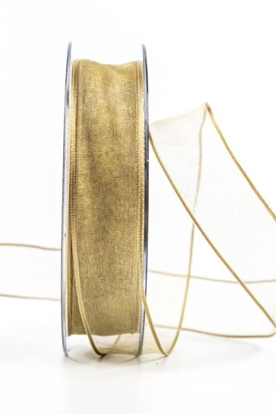 Organzaband mit Drahtkante, sand, 25 mm breit - organzaband, organzaband-mit-drahtkante, geschenkband