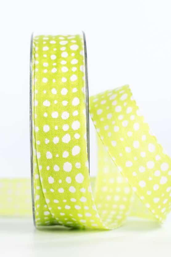 Geschenkband in Leinenoptik, hellgrün, 25 mm breit - geschenkband, geschenkband-gemustert