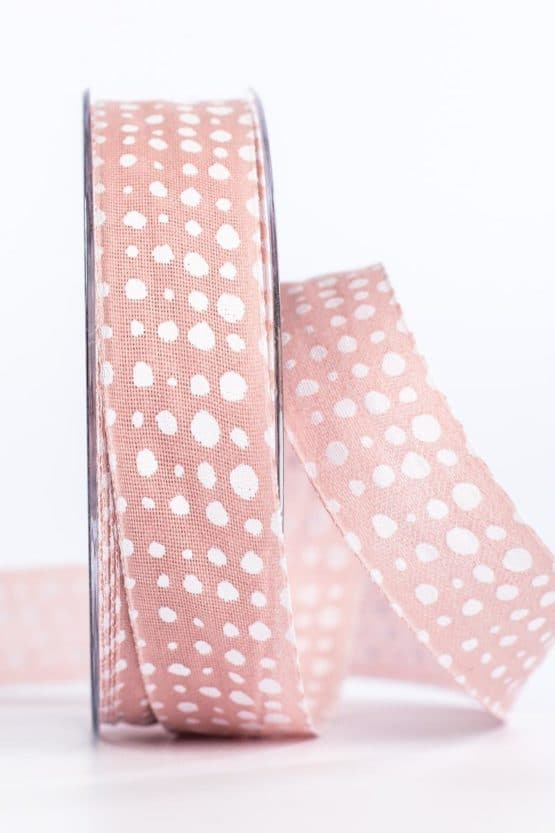 Geschenkband in Leinenoptik, rosa, 25 mm breit - geschenkband, geschenkband-gemustert