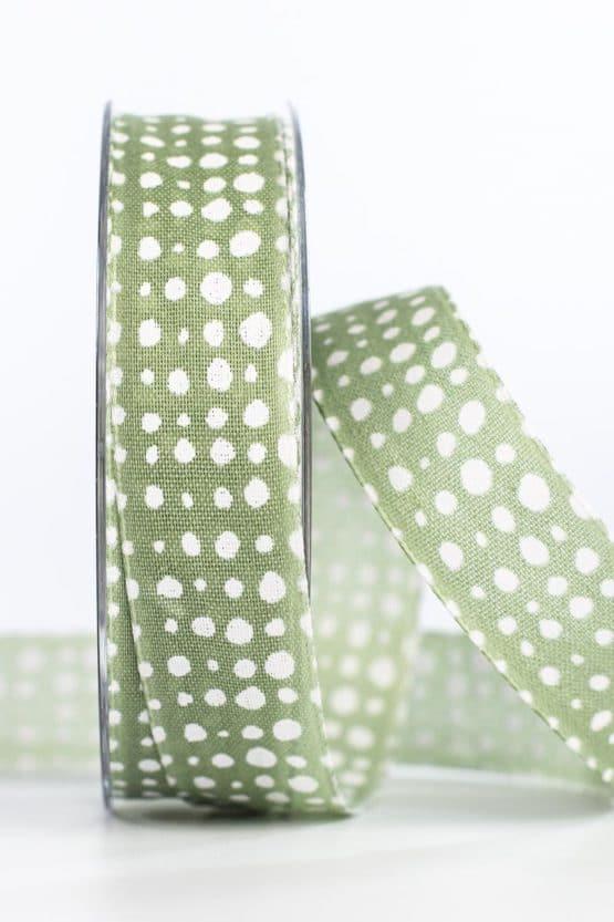 Geschenkband in Leinenoptik, olivgrün, 25 mm breit - geschenkband, geschenkband-gemustert