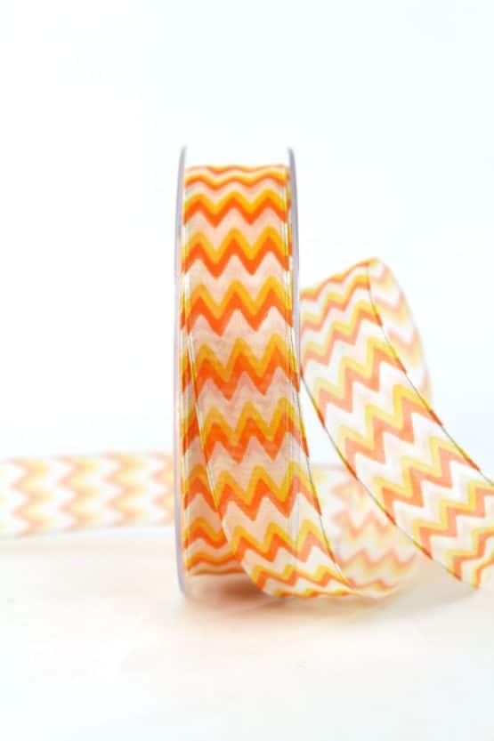 Dekoband im 70er-Look, orange, 25 mm breit - geschenkband, geschenkband-gemustert, dekoband