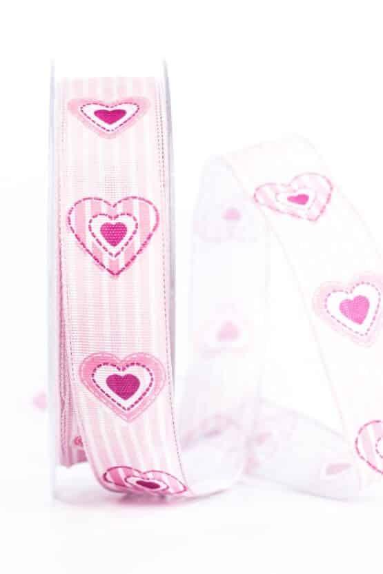 Geschenkband Herz, rosa, 25 mm breit - valentinstag, muttertag, geschenkband, geschenkband-mit-herzen, geschenkband-fuer-anlaesse, anlasse