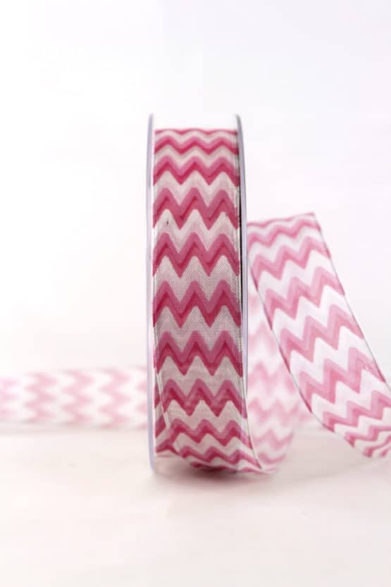 Dekoband im 70er-Look, pink, 25 mm breit - geschenkband, geschenkband-gemustert, dekoband
