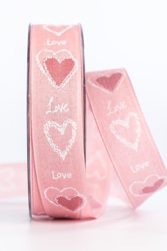 """Geschenkband """"Love"""", rosa, 25 mm breit - valentinstag, muttertag, geschenkband, geschenkband-mit-herzen, geschenkband-gemustert, geschenkband-fuer-anlaesse, anlasse"""