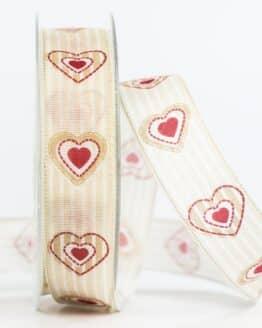 Geschenkband Herz, beige, 25 mm breit - valentinstag, muttertag, geschenkband, geschenkband-mit-herzen, geschenkband-fuer-anlaesse, anlasse