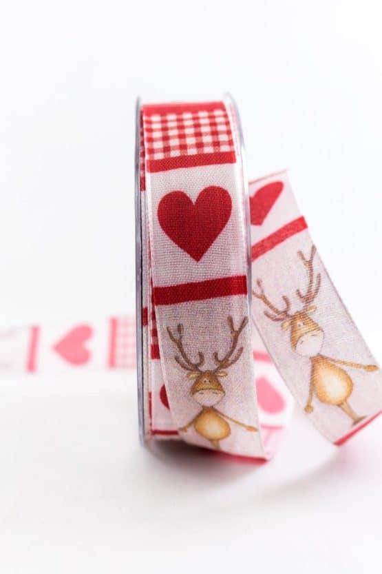 Lustiges Weihnachtsband, rot, 25 mm breit - weihnachtsbaender, geschenkband-weihnachten-gemustert, geschenkband-weihnachten