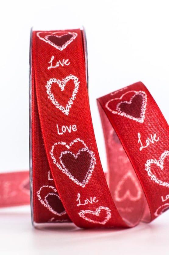 """Geschenkband """"Love"""", rot, 25 mm breit - valentinstag, muttertag, geschenkband, geschenkband-mit-herzen, geschenkband-gemustert, geschenkband-fuer-anlaesse, anlasse"""