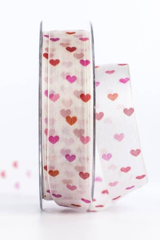 Organzaband mit bunten Herzen, rot, 25 mm breit - valentinstag, organzaband, organzaband-gemustert, geschenkband, geschenkband-mit-herzen, geschenkband-gemustert, geschenkband-fuer-anlaesse, anlasse