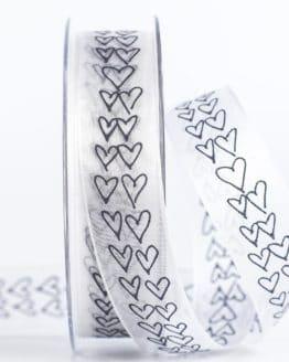 Organzaband mit Herzen, schwarz, 25 mm breit - valentinstag, organzaband, organzaband-gemustert, geschenkband, geschenkband-mit-herzen, geschenkband-gemustert, geschenkband-fuer-anlaesse, anlasse