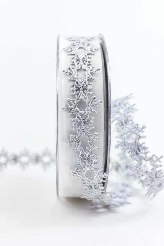Eiskristall-Litze, silber, 25 mm breit - weihnachtsbaender, geschenkband-weihnachten-einfarbig, geschenkband-weihnachten