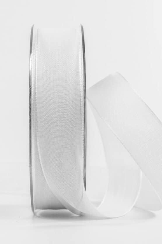 Geschenkband Leinen, weiß, 25 mm breit - geschenkband, geschenkband-einfarbig