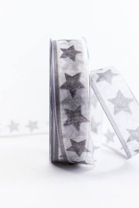 Geschenkband Sterne, weiß-grau, 25 mm breit - weihnachtsbaender, geschenkband-weihnachten-gemustert, geschenkband-weihnachten