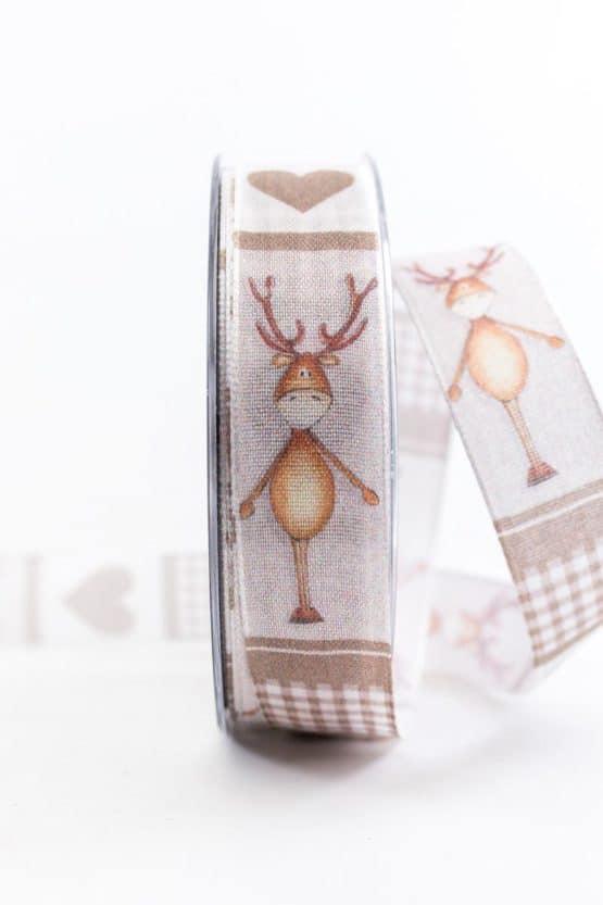Lustiges Weihnachtsband, braun, 25 mm breit - weihnachtsbaender, geschenkband-weihnachten-gemustert, geschenkband-weihnachten