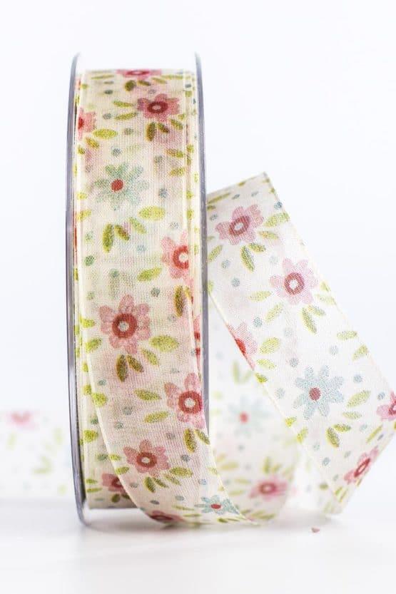 Organzaband Sommerblumen, creme-rosa, 25 mm breit - organzaband, organzaband-gemustert