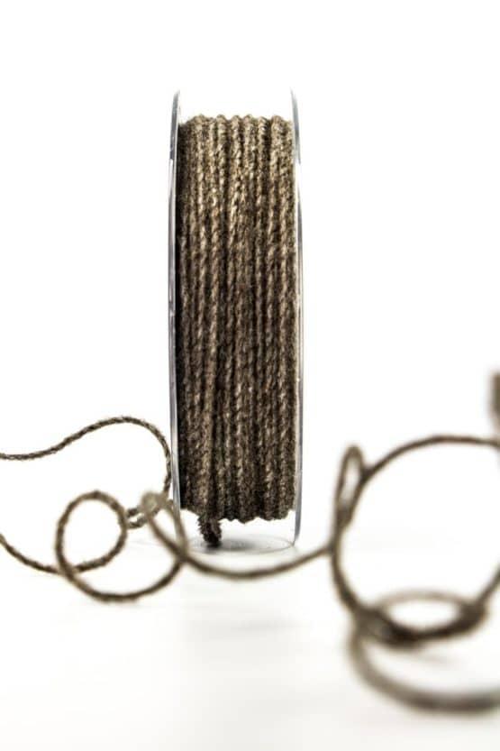 Juteschnur mit Draht, braun, 2 mm breit - kordeln