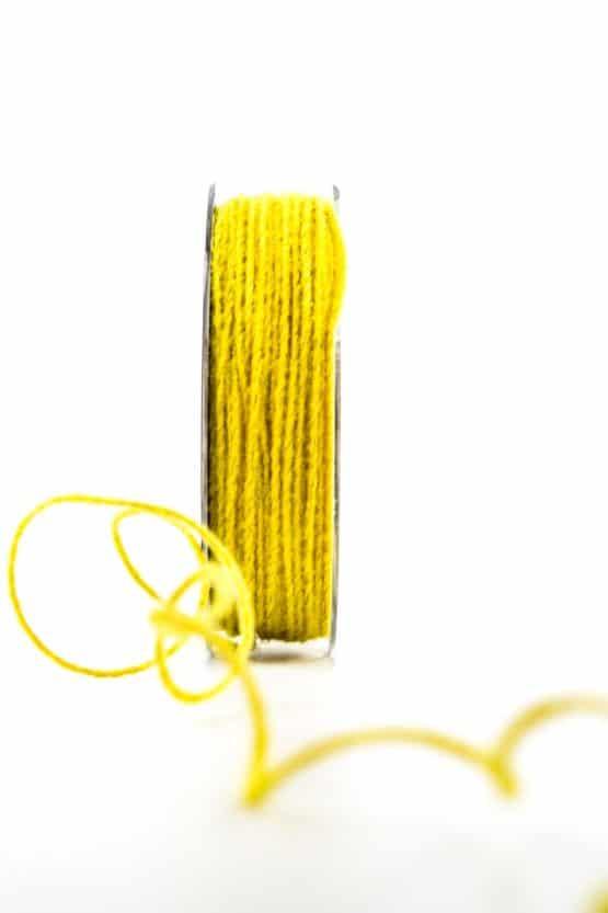Juteschnur mit Draht, gelb, 2 mm breit - kordeln