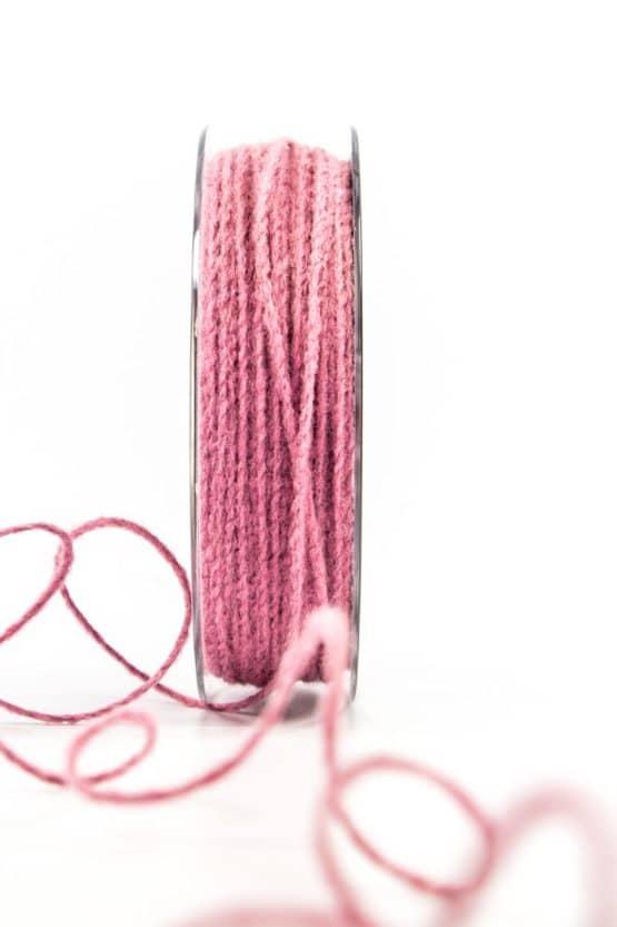 Juteschnur mit Draht, rosa, 2 mm breit - kordeln